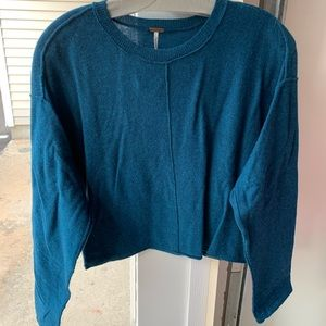 Free People Cropped Turquoise Sweater
